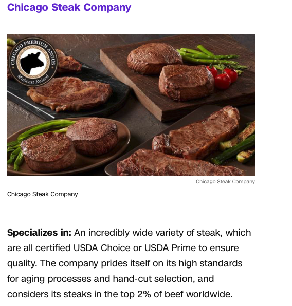 Screenshot of the article with title: Skip the supermarket: Get meat delivered to your doorstep with these services and picture of meat