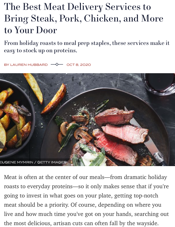 Screenshot of the article with title: The Best Meat Delivery Services to Bring Steak, Pork, Chicken, and More to Your Door