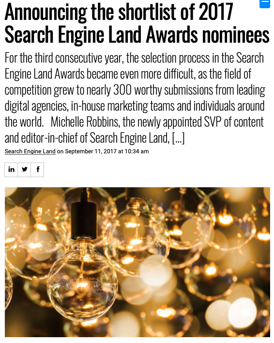 Screenshot of the article with title: Announcing the shortlist of 2017 Search Engine Land Awards nominees and picture of light bulbs