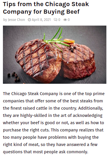Screenshot of the article with title: Tips from the Chicago Steak Company for Buying Beef and picture of grilled meat