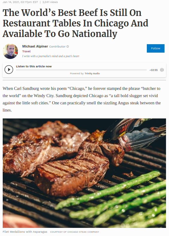 Screenshot of the article with title: The World's Best Beef Is Still On Restaurant Tables In Chicago And Available To Go Nationally and picture of the meat on a grill