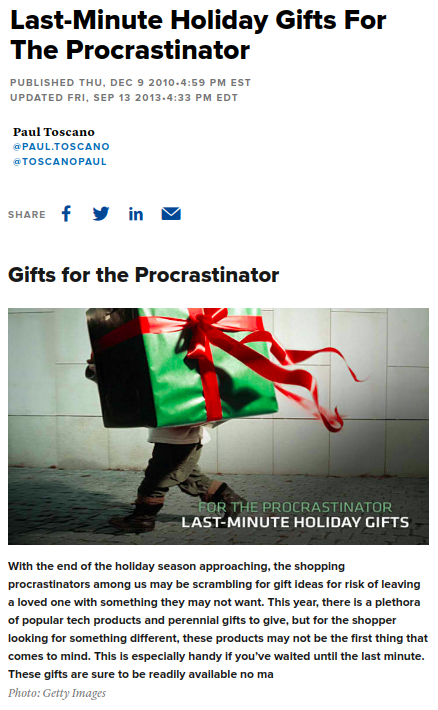 Screenshot of the article with title: Last-Minute Holiday Gifts For The Procrastinator and picture of a child holding a gift