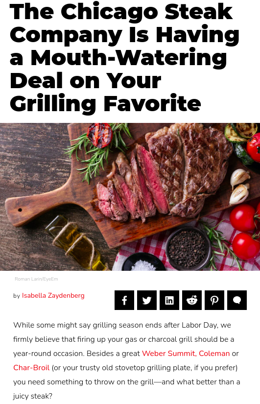 Screenshot of the article with title: The Chicago Steak Company Is Having a Mouth-Watering Deal on Your Grilling Favorite and picture of a chopped meat on a cutting board
