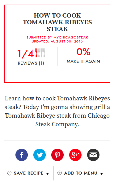 Screenshot of the article with title: How to Cook Tomahawk Ribeyes Steak