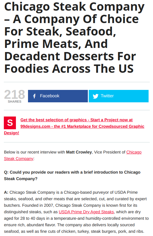 Screenshot of the article with title: Chicago Steak Company ' A Company Of Choice For Steak, Seafood, Prime Meats, And Decadent Desserts For Foodies Across The US