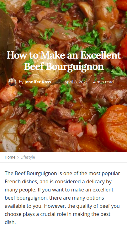 Screenshot of the article with title: How to Make an Excellent Beef Bourguignon and picture of the Beef Bourguignon