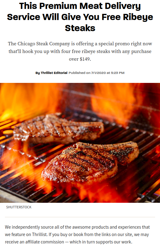 Screenshot of the article with title: This Premium Meat Delivery Service Will Give You Free Ribeye Steaks and a picture of the meat on a grill