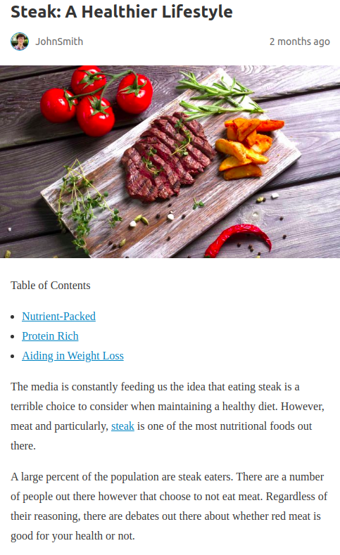 Screenshot of the article with title: Steak: A Healthier Lifestyle and picture of a chopped meat on cutting board