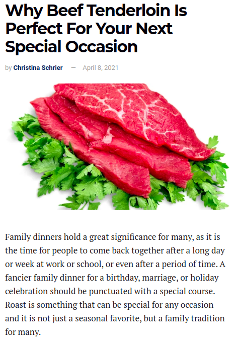 Screenhot of the article with title: Why Beef Tenderloin Is Perfect For Your Next Special Occasion and picture of a chopped meat on parsley