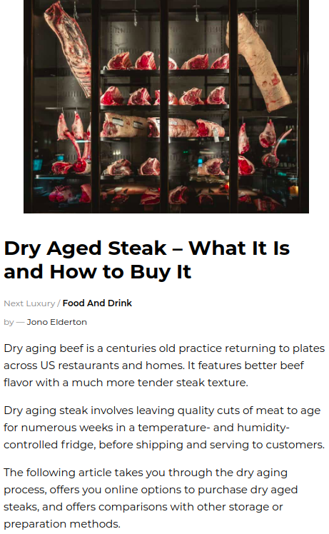 Screenshot of the article with title Dry Aged Steak ' What It Is and How to Buy It with picture of meat on the exhibition