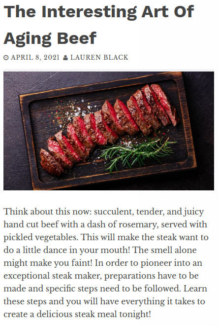 Screenshot of the article with title The Interesting Art Of Aging Beef and picture of a chopped meat